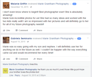 Marie Grantham Photography Facebook Review
